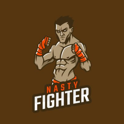 Logo Template with an Illustrated Box Fighter 1747y-2861