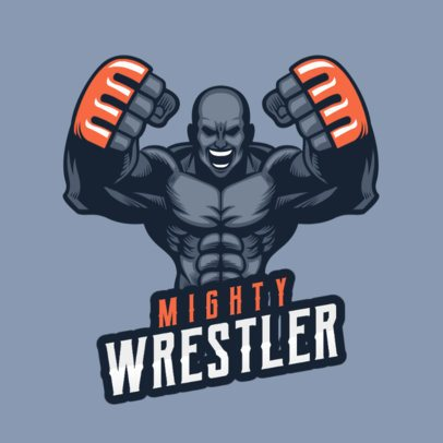 Gaming Logo Template with an Aggressive Wrestler Character 1747z 2856