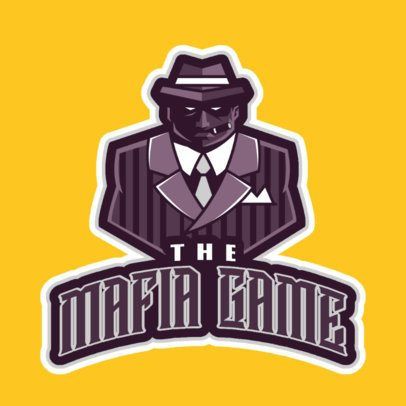 Gaming Logo Maker with an Intimidating Mafia Man Illustration 29q-2862