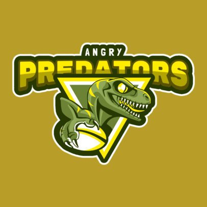 Rugby Logo Maker with a Velociraptor Illustration 120t-2862