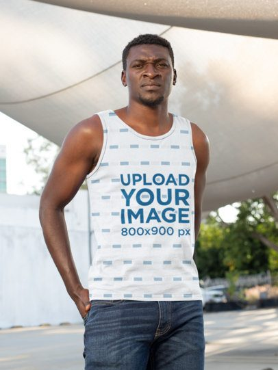 Mockup of a Serious-Looking Man Wearing a Sublimated Tank Top 31379