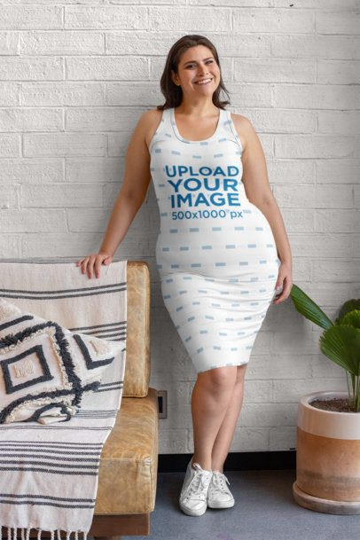 Plus Size Mockup Featuring a Smiling Woman Wearing a Racerback Dress 30959