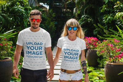 T-Shirt Mockup Featuring a Joyful Couple Walking and Holding Hands 2256-el1