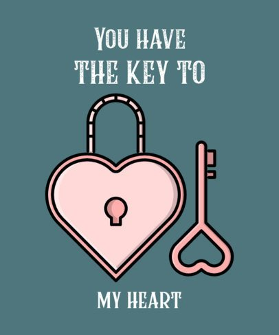 Valentine's Day T-Shirt Template with a Heart Lock and Key 514b-el1