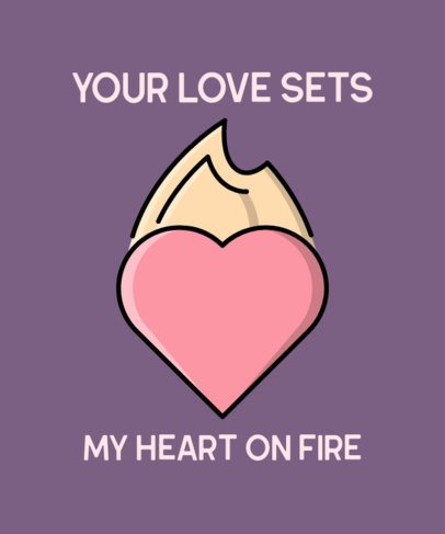 T-Shirt Design Creator with the Illustration of a Heart on Fire 514c-el1