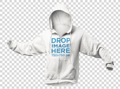 Invisible Model Hoodie Mockup Over a Null Background a9137