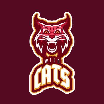 Mascot Logo Maker Featuring an Aggressive Wildcat Illustration 21v-2857