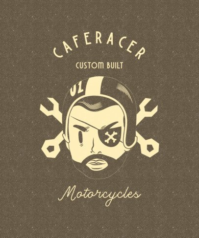 Illustrated Biker Club T-Shirt Design Template for Café Racers 2134g