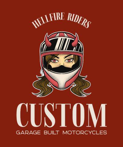 Biker Club T-Shirt Maker with a Female Biker 2132c