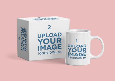 Mockup of a Coffee Mug and Its Package 2372-el1