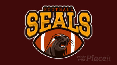 Animated Sports Logo Template for a Football Team with an Aggressive Seal Graphic 120r-2856