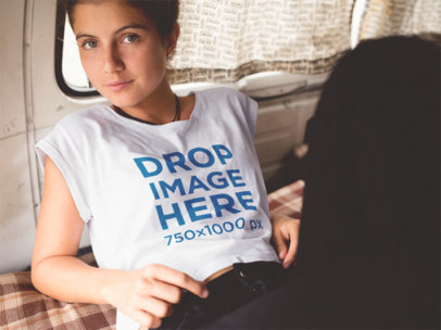 Mockup of a Pretty Girl Wearing a T-Shirt in the Back of a Van a11585