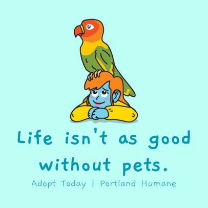Instagram Post Template for a Pet Shelter with a Parrot Graphic 2118g 2144