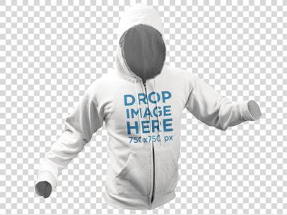 Hoodie Invisible Model Mockup Over a Transparent Background 10658