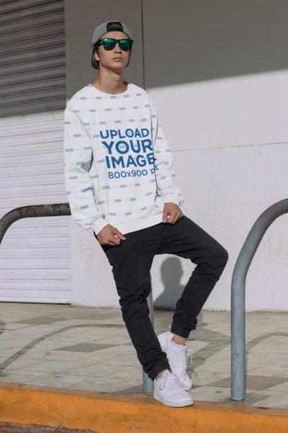Sublimated Sweatshirt Mockup of a Stylish Man on a Street 31127