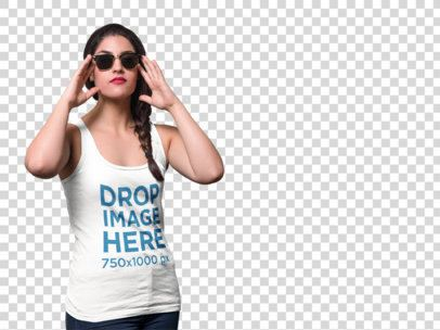Mockup of a Young Woman Wearing a Tank Top and Sunglasses a9124