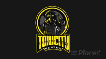Gaming Logo Template Featuring an Animated Gunman Wearing a Respirator Mask 383n 2290
