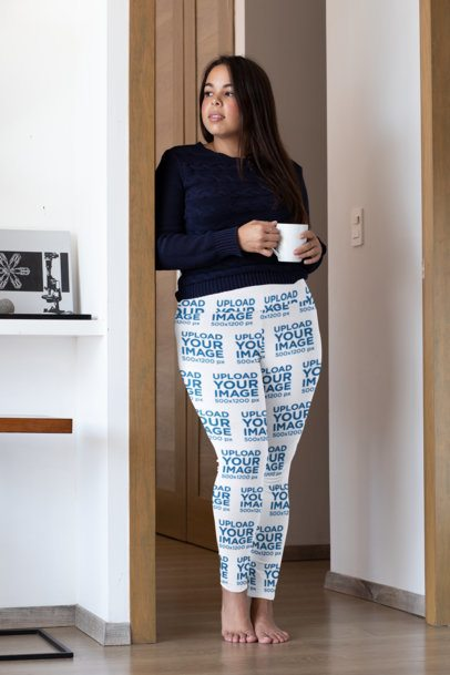 Plus Size Sublimated Leggings Mockup Featuring a Woman Drinking a Tea 31028