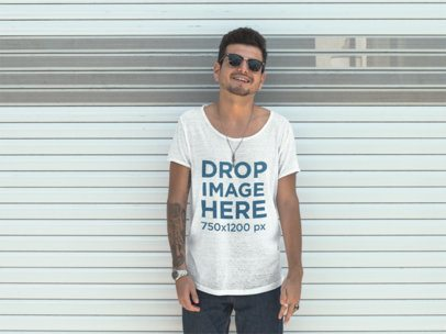 T-Shirt Mockup of a Guy Wearing Sunglasses and Smiling aa11677