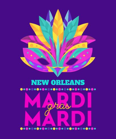 T-Shirt Design Template Featuring Mardi Gras Illustrations 2169