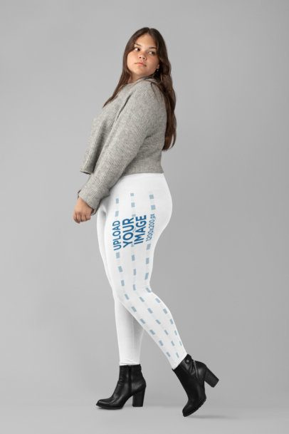 Plus Size Side Leggings Mockup of a Woman Posing at a Studio 30973