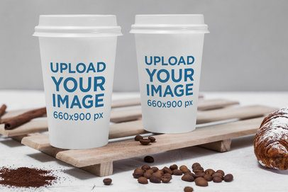 Mockup of Two Customizable Coffee Cups 2187-el1