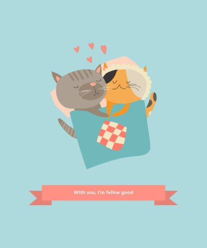 Illustrated T-Shirt Design Maker with Two Cats in Love 217b-el1