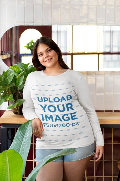 Plus Size Mockup of a Woman with a Long-Sleeve Tee and Shorts 30910