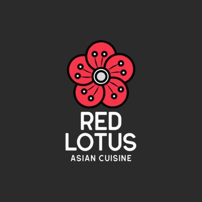Asian Cuisine Restaurant Logo Template Featuring a Flower Clipart 599c-el1