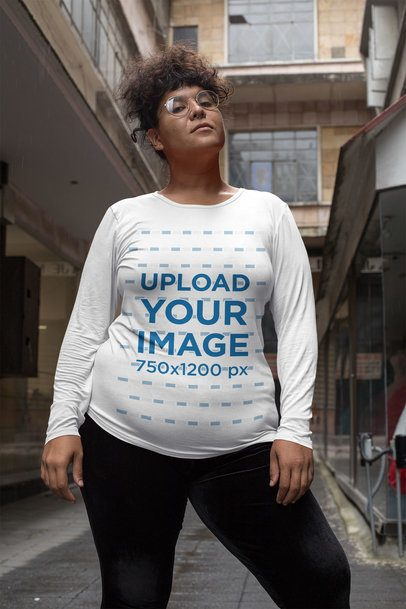 Plus Size Mockup Featuring a Curly-Haired Woman Wearing a Long Sleeve Tee 30893