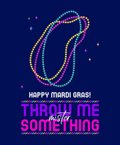 T-Shirt Design Maker Featuring Mardi Gras Colorful Necklaces 2169a