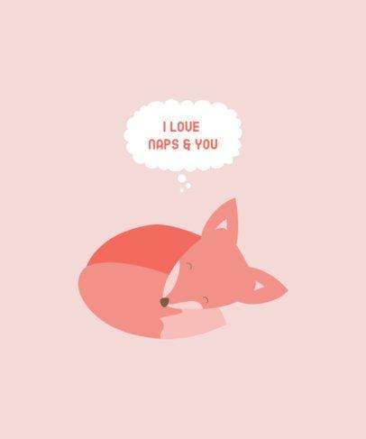 Valentine's Day T-Shirt Design Maker with a Sleepy Fox Illustration 221c-el1