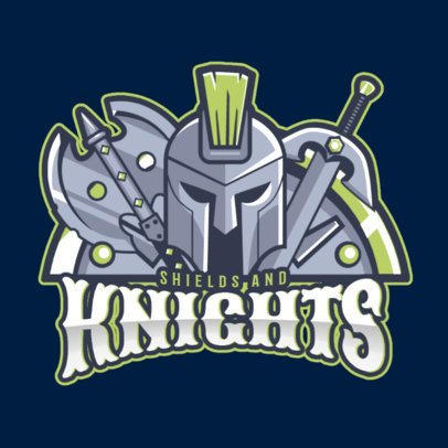 Illustrated Knight Logo Maker Featuring a Helmet and Medieval Weapons 1750dd-2883