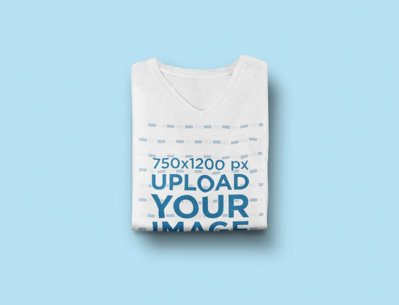 Mockup of a Folded V-Neck T-Shirt on a Flat Surface 2414-el1
