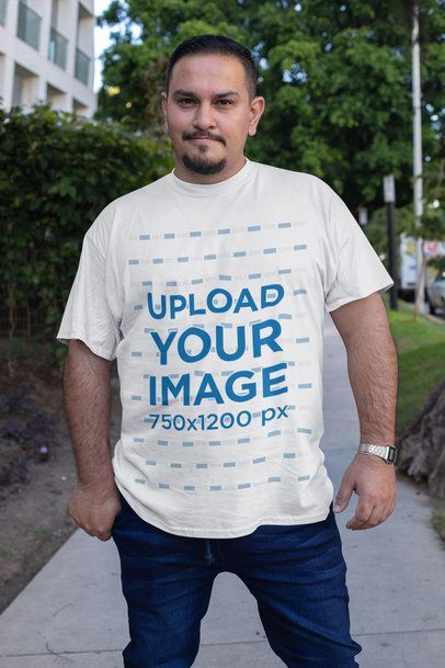 Plus Size T-Shirt Mockup Featuring a Serious Man Posing at a Sidewalk 31055