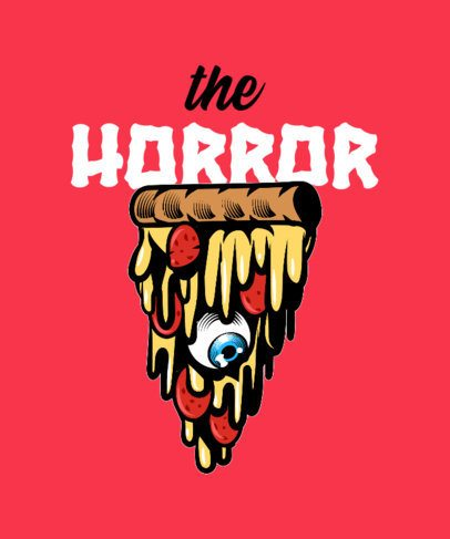 T-Shirt Design Template Featuring a Melting Pizza Graphic 2138b