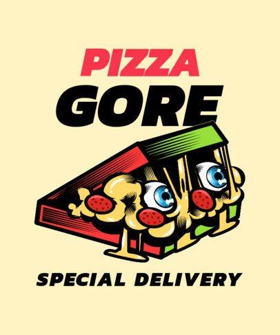 T-Shirt Design Generator Featuring a Pizza-Box Monster Cartoon 2138c