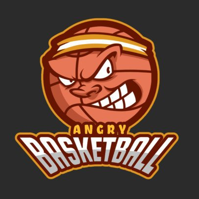 Sports Logo Template for Basketball Teams Featuring an Angry Ball Illustration 336m-2883