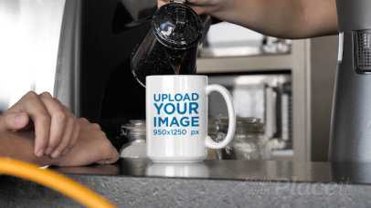15 oz Coffee Mug Video of a Man Waiting for a Coffee at a Cafeteria 31589