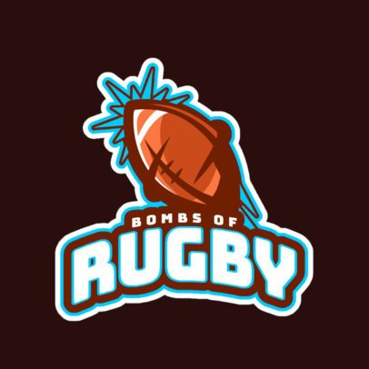 Sports Logo Maker with a Rugby Ball Graphic 1616j-2893