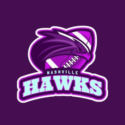 Logo Maker for a Football Team with a Hawk Illustration a245jj-2888