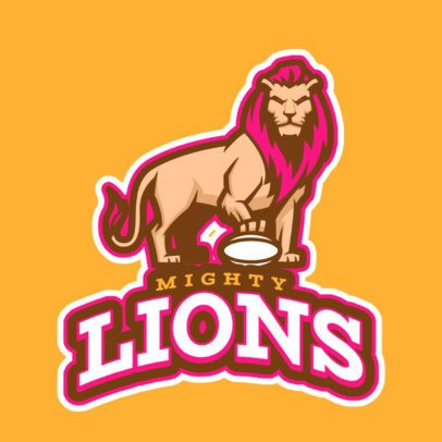 Sports Logo Maker Featuring a Lion with a Football Ball 1651i-2893