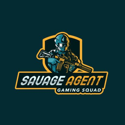 Gaming Squad Logo Maker with Heavy Armored Soldier Character 2754v-2890