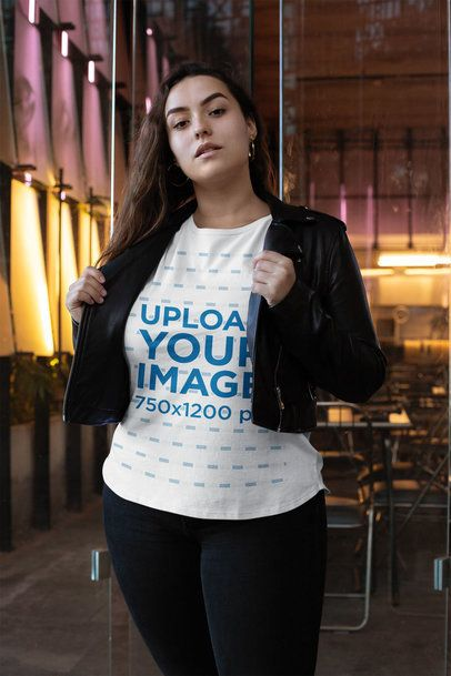 Plus Size T-Shirt Mockup Featuring a Woman with Long Hair 31081
