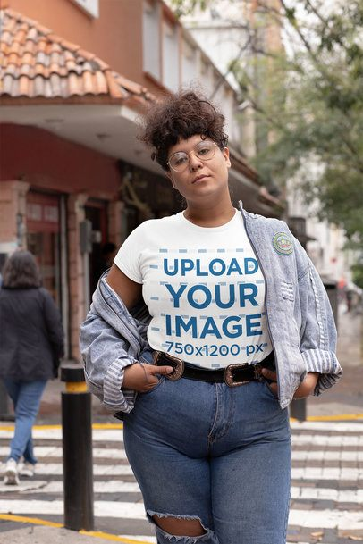 Mockup of a Sassy Woman Wearing a Plus Size Tee 30886