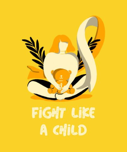 T-Shirt Design Template with a Child Cancer Empathy Quote 2164a