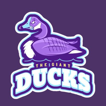 Logo Maker for a Sports Team with an Aggressive Duck 21jj-2892