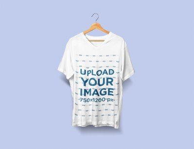 Minimalistic Mockup of a V-Neck T-Shirt on a Hanger 2413-el1