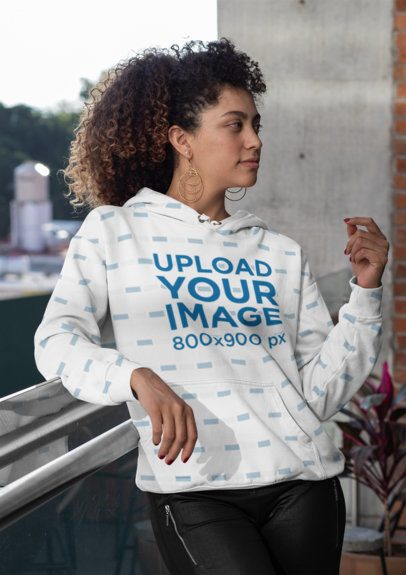 Sublimated Hoodie Mockup Featuring a Woman at a Balcony 31160