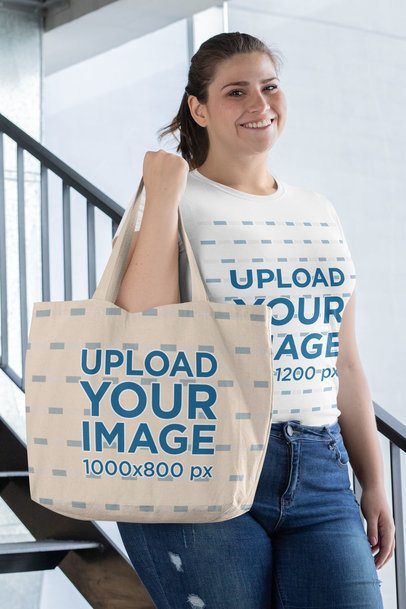 Plus Size T-Shirt Mockup Featuring a Woman with a Tote Bag 30899